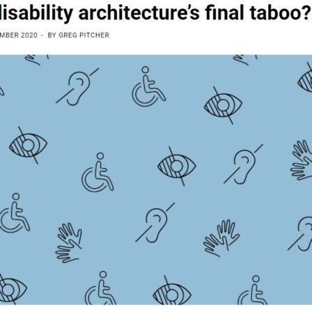 AJ is disability architectures final taboo disabled symbols on blue background