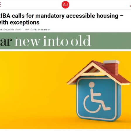 architects journal mandatory accessible housing standards blue disabled symbol under model roof yellow background